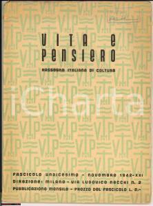 1942 MILANO Vita e pensiero - n° 11 - Rivista cattolica
