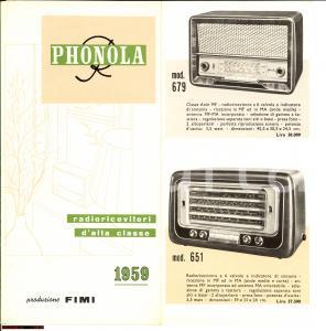 1959 FIMI MILANO Radioricevitori PHONOLA pieghevole