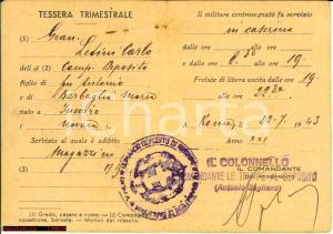 1943 Granatieri di Sardegna Tessera Gian Carlo LETINI