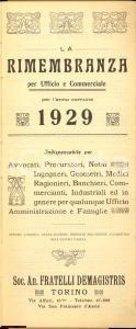1929 TORINO Agenda La Rimembranza F.LLI DE MAGISTRIS