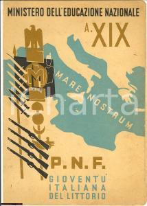 1941 NOVARA Pagella fascista Onoraldo CELLA Illustrata