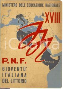 1940 PNF NOVARA Pagella elementare Onoraldo CELLA