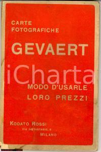 1906 Carte fotografiche GEVAERT Manuale e prezzi