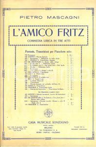 1891 SUARDON - MASCAGNI L'amico Fritz - Commedia lirica in tre atti *Spartito