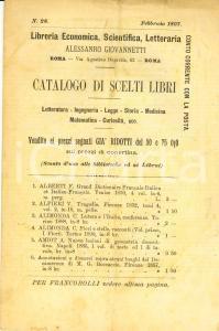 1897 ROMA Libreria Alessandro GIOVANNETTI - Catalogo di scelti libri n. 28