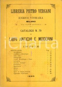 1895 MILANO Libreria Pietro VERGANI Catalogo di libri antichi e moderni n. 79