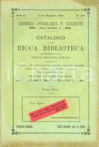 1899 ROMA Pio LUZZIETTI Catalogo biblioteca di un distinto bibliofilo romano