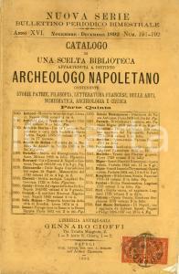 1892 NAPOLI Libreria Gennaro CIOFFI Catalogo biblioteca di archeologo *Parte V