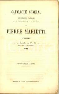 1862 TURIN Libraire PIERRE MARIETTI Catalogue général des livres français