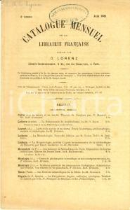 Juin 1881 PARIS Libraire OTTO LORENZ Catalogue mensuel de la librairie française