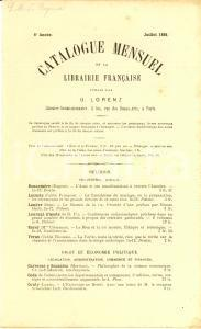 Juillet 1881 PARIS Libraire OTTO LORENZ Catalogue mensuel librairie française