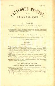 1881 Aout PARIS Libraire OTTO LORENZ Catalogue mensuel de la librairie française
