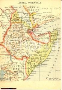 1936 MILANO Ditta Leonino FONTANA Africa Orientale Italiana *Cartolina con mappa