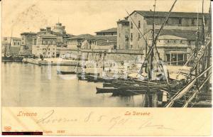 1901 Livorno - Darsena *Veduta animata con barche