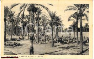 1937 SUGH-EL-GIUMAA LIBIA Il mercato Cartolina ANIMATA