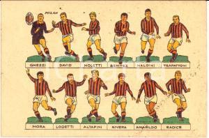 1966 MILAN La formazione Cartolina illustrata FG NV