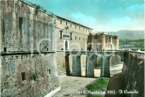 1964 L'AQUILA Ponte d'ingresso del castello ANIMATA Cartolina FG VG