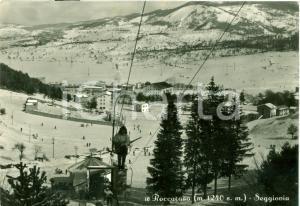 1952 ROCCARASO (AQ) Sciatori sulla seggiovia *Cartolina FG VG