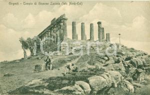 1922 GIRGENTI (AGRIGENTO) Tempo Giunone Lacinia ANIMATA Cartolina FP VG