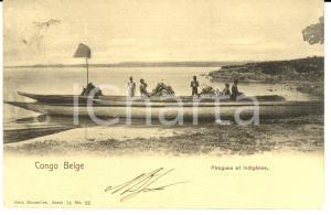 1904 CONGO BELGE Pirogues et indigènes *Cartolina FP VG
