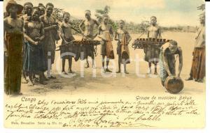 1904 CONGO BELGE Groupe de musiciens BAKUA *Cartolina FP VG