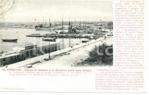 1900 ca SIRACUSA Veduta NEAPOLI e di ACRADINA da isola ORTIGIA *Cartolina FP NV