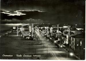 1959 CESENATICO (FC) Veduta di Viale CARDUCCI in notturno *Cartolina FG VG