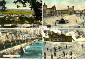 1956 L'AQUILA Vedutine con fontana 99 cannelle e albergo CAMPO IMPERATORE *FG VG