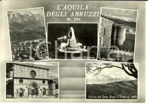 1958 L'AQUILA Vedutine con castello e fontana luminosa *Cartolina FG VG