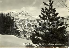 1963 OVINDOLI (AQ) Panorama con monte SIRENTE sotto la neve *Cartolina FG VG
