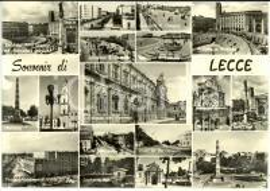 1962 LECCE Vedutine con COLONNA SANT'ORONZO e anfiteatro romano *Cartolina FG VG