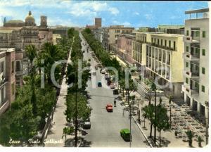 1959 LECCE Scorcio panoramico di VIALE GALLIPOLI *Cartolina ANIMATA FG VG