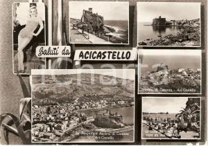 1958 ACI CASTELLO (CT) Vedutine con PIN-UP Isole dei Ciclopi *Cartolina FG VG