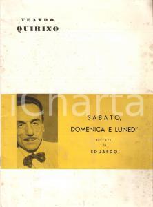 1959 ROMA Teatro Quirino Eduardo DE FILIPPO Sabato domenica e lunedì *Opuscolo