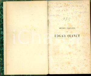 1876 Edgar QUINET Histoire de mes idées Dedica AUTOGRAFA Hermione ASACHI
