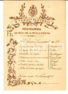1878 IVREA (TO) Giardini GIUSIANA 8° Reggimento FANTERIA in concerto *Programma