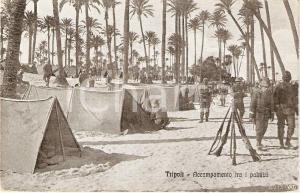 1925 ca TRIPOLI (LIBIA) Guerra ITALO-TURCA Accampamento tra i palmizi ANIMATA