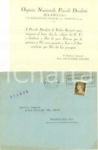 1933 MILANO Ospizio Nazionale Piccoli Derelitti PADRE BECCARO condoglianze
