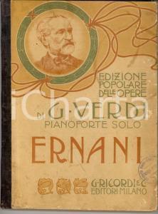 1910 MILANO Giuseppe VERDI Ernani - Pianoforte solo *Ed. RICORDI
