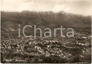 1955 L'AQUILA Veduta aerea sulla città con GRAN SASSO *Cartolina FG VG