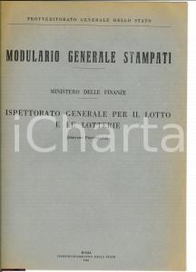 1946 LOTTO LOTTERIE Formulario ministeriale