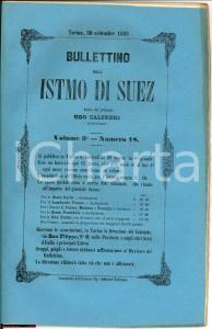 1858 TORINO Bullettino dell'istmo di SUEZ rivista