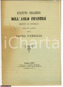 1887 NOVELLO (CN) Statuto asilo infantile e beneficenza