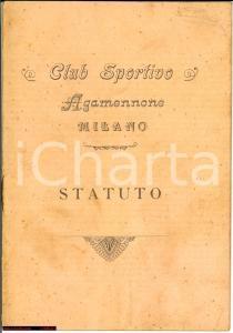 1907 MILANO Club sportivo AGAMENNONE statuto