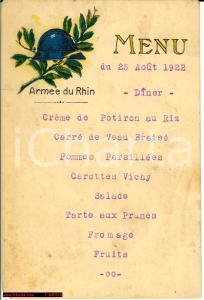 1922 ARMEE DU RHIN menù d'epoca