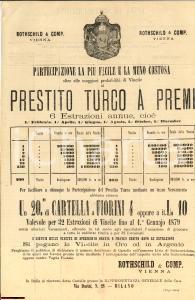 1872 MILANO ROTSCHILD & Co Prestito turco a premi RARO