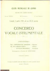 1909 COMO Club Musicale Concerto maestro Renzo BOSSI