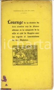 1850 Louenge de la victoire du tres crestien Roy RARE