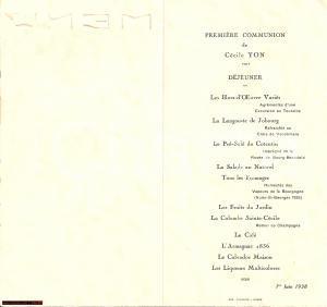 1938 ROUEN (FR) Menu prima comunione Cécile YON