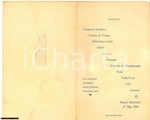 1934 ROUEN (F) Menu dejeuner offert par Simone BIENVENU